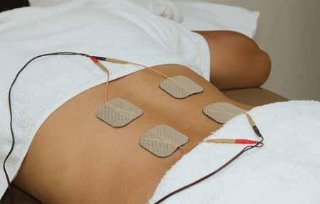 Bel ağrısı tedavisinde kullanılan tens cihazı ve uygulama bölgesi